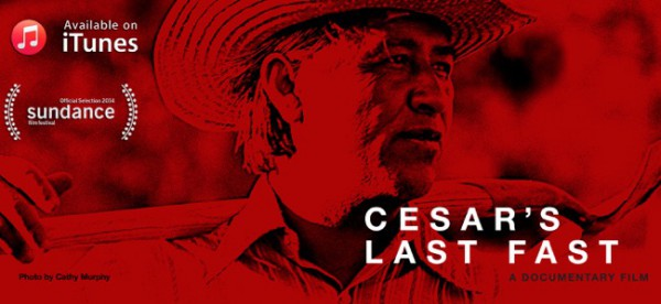Cesar Chavez looks pensive, with a shovel across his shoulders.